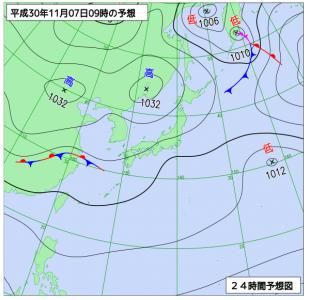 10月7日(水)9時の予想天気図
