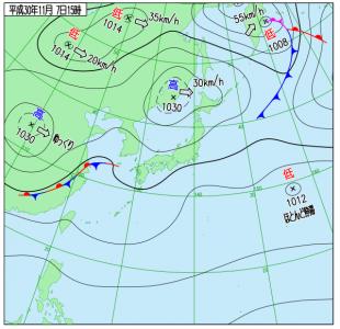 11月7日(水)15時の実況天気図