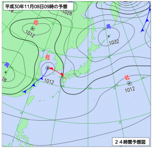 11月8日(木)9時の予想天気図