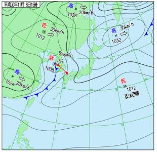 10月8日(木)15時の実況天気図