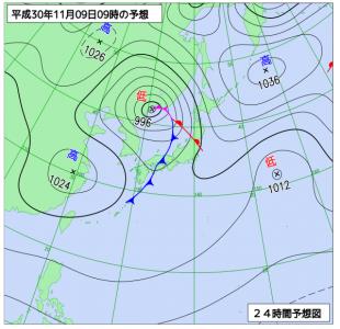 10月9日(金)9時の予想天気図