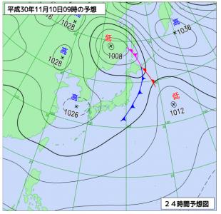 11月10日(土)9時の予想天気図