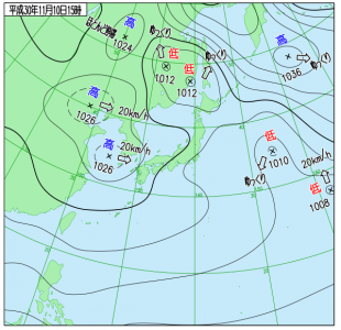 11月10日(土)15時の実況天気図