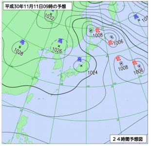 11月11日(日)9時の予想天気図