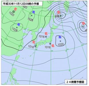 11月12日(月)9時の予想天気図