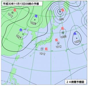 11月13日(火)9時の予想天気図
