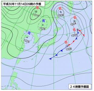 11月14日(水)9時の予想天気図