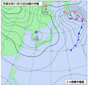 11月15日(木)9時の予想天気図