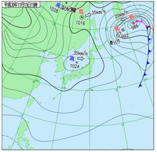 11月15日(木)15時の実況天気図