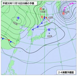 11月16日(金)9時の予想天気図