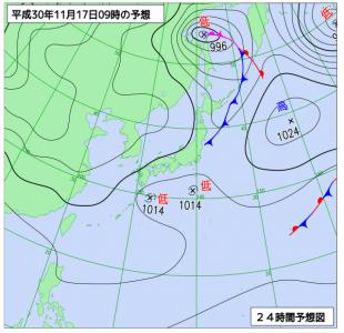 11月17日(土)9時の予想天気図