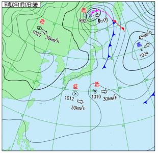 11月17日(土)15時の実況天気図