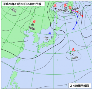 11月18日(日)9時の予想天気図
