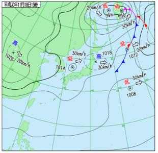 11月18日(日)15時の実況天気図