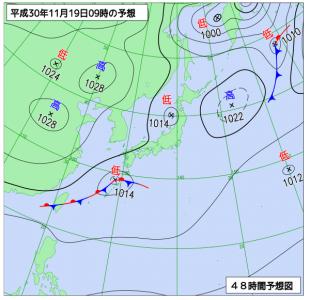 11月19日(月)9時の予想天気図