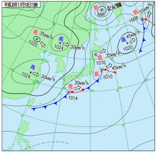 11月19日(月)15時の実況天気図