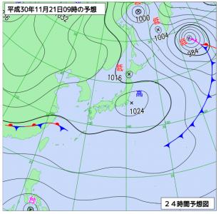 11月21日(水)9時の予想天気図