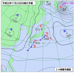 11月22日(木)9時の予想天気図