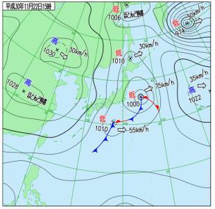 11月22日(木)15時の実況天気図