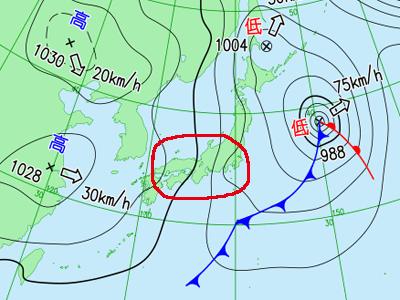 11月22日(木)21時の実況天気図