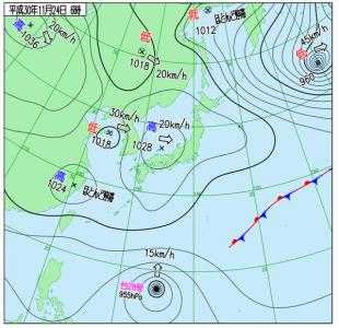 11月24日(土)6時の実況天気図