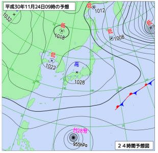 11月24日(土)9時の予想天気図
