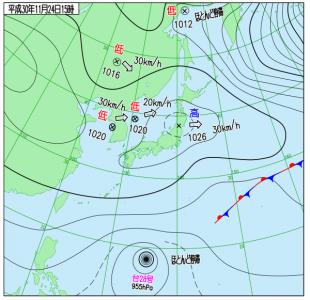 11月24日(土)15時の実況天気図
