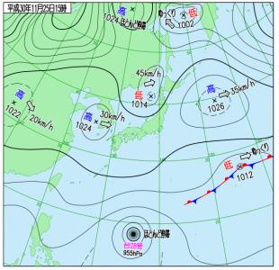 11月25日(日)15時の実況天気図