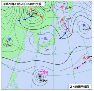 11月26日(月)9時の予想天気図