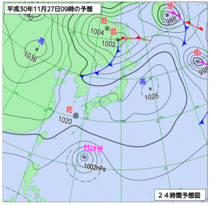 11月27日(火)9時の予想天気図