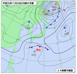 11月28日(水)9時の予想天気図