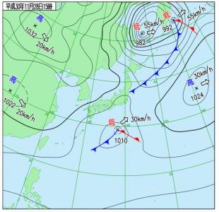 11月28日(水)15時の実況天気図