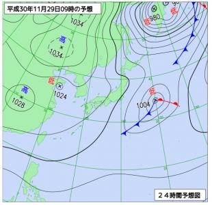 11月29日(木)9時の予想天気図