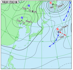 11月29日(木)15時の実況天気図