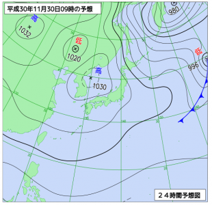 11月30日(金)9時の予想天気図