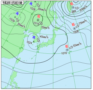 11月30日(金)15時の実況天気図
