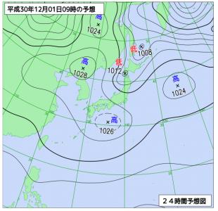 12月1日(土)9時の予想天気図
