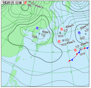 12月1日(土)15時の実況天気図