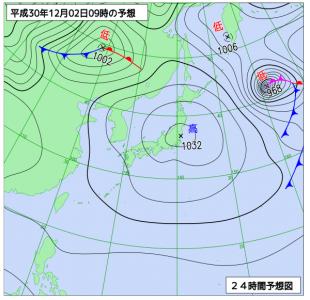 12月2日(日)9時の予想天気図