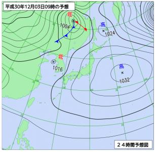 2月3日(月)9時の予想天気図