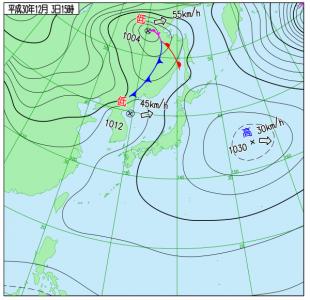 12月3日(月)15時の実況天気図