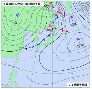 12月4日(火)9時の予想天気図