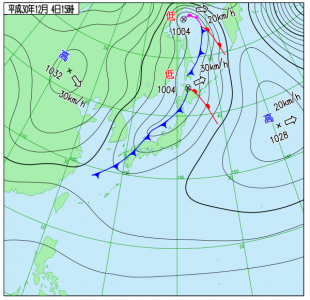 12月4日(火)15時の実況天気図