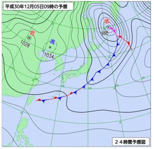 12月5日(水)9時の予想天気図