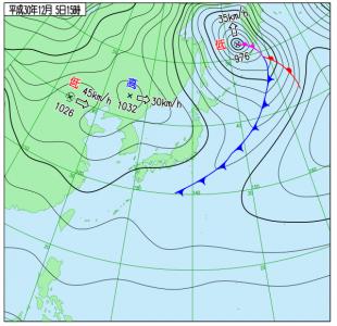 12月5日(水)15時の実況天気図