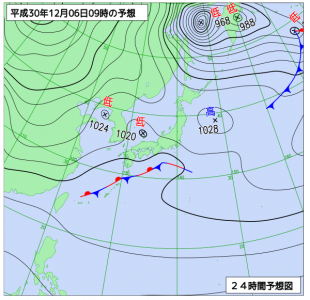 12月6日(木)9時の予想天気図