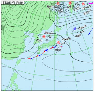 12月6日(木)15時の実況天気図