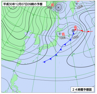 12月7日(金)9時の予想天気図