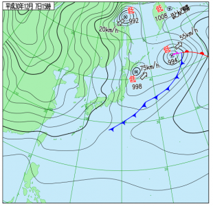 12月7日(金)15時の実況天気図