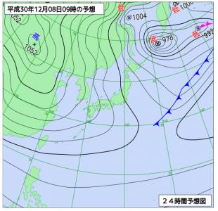12月8日(土)9時の予想天気図